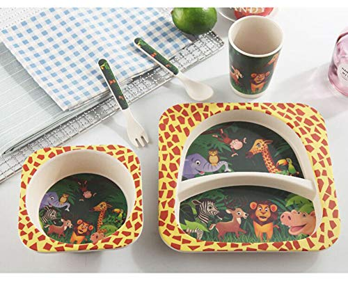 Children's 5 Pcs Bamboo Dinner Set Shopwithgreen Kids Board Food Plate Bowl Cup Spoon Fork Set Dishware Cartoon Tableware Eco Friendly, BPA Free and Dishwasher Safe Kids Healthy Mealtime(Animal World)