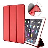 iPad Air 1 Hülle,GOOJODOQ iPad Air 1 PU Leder Etui Hülle Tasche mit Ständer Funktion & Eingebautem Magnet für Einschlaf/Aufwach Shockproof Silikon Weicher TPU Folio Hülle für Apple iPad Air 1(rot)