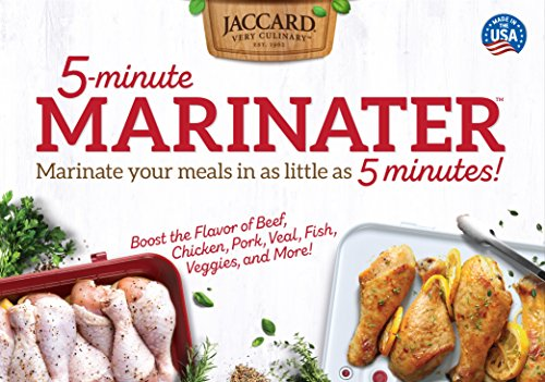 Jaccard 5-Minute Marinater, 10 X 14 Inch, White/Red, Instant Vacuum Marinade Container. Dishwasher Safe