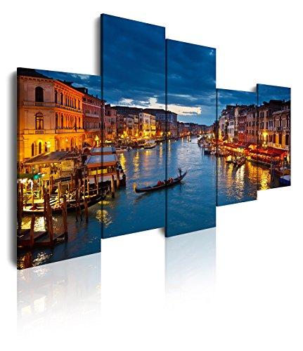 DekoArte 116 - Cuadros Modernos Impresión de Imagen Artística Digitalizada | Lienzo Decorativo para Tu Salón o Dormitorio | Estilo Ciudades Venecia Gran Canal Italia | 5 Piezas 150 x 100 cm