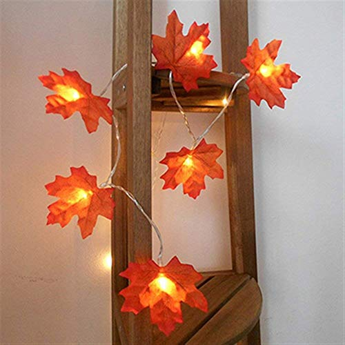 NL LED String Lights 10/20/30/40 LEDs Maple Leaf Fairy Lights, Battery Operated Halloween Decorations for Outdoor Indoor Halloween Party (Emitting Color : Warm White, Wattage : 1m 10leds)