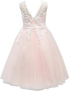 Miama フラワーガールドレス 子供背中を透かしドレス キッズドワンピース 結婚式ドレス アイボリー