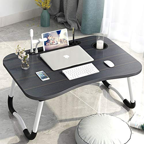 Foldable Laptop Bed Table Tray with USB Ports and Cup Holder - Buytra Laptop Stand for Bed with Slot, Reading Light, Fan - Portable Laptop Bed Tray for Eating, Working, Gaming on Bed Sofa Couch Floor