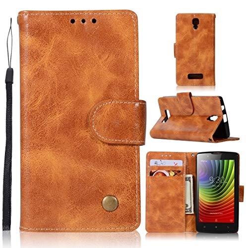RONGCHAO Tasche für Mobiltelefon for Lenovo A2010 Retro Kupfer Knopf Crazy Horse Horizontal Flip PU-Leder-Kasten mit Halter und Card Slots und Wallet und Lanyard (weinrot) Shell Cover (Farbe : Gold Yellow)