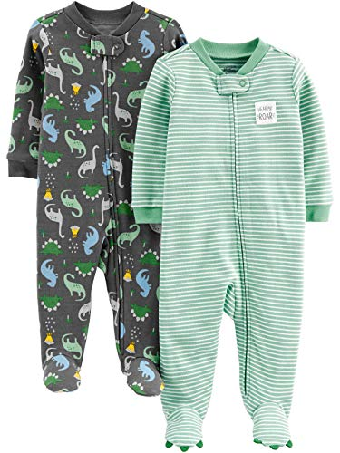 Simple Joys by Carter's Boys' 2-Pack Cotton Footed Sleep and Play, Dino/Stripe, Newborn
