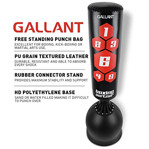 Gallant 5.5ft Free Standing Boxing Punch Bag Stand Black Target - Excellent Quality Heavy Duty Adults Punching Bag Kick Boxing, Martial Arts, MMA Dummy Training Home Gym Equipment - Next Day Shipping