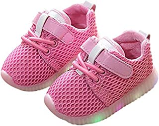 Kids LED Light Up Shoes Boy Girl Trainers Soft Breathable Mesh Soles Lightweight Flashing Slip-On Sneakers as Gift