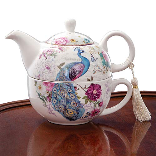 Review Of Bits and Pieces - Tea For One Peacock Porcelain Teapot and Cup Set - Elegant Peacock Desig...
