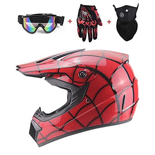 JWKJ Casco Motocross Eduro, ECE Homologado Downhill Cascos de Cross de Moto Set con Gafas/Máscara/Guantes Casco de Moto Cross Integral para Mujer Hombre Casco de Moto para niños