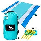 SUN NINJA Sand Free Beach Blanket - Outdoor Blanket, Beach Mat & Accessories - 10ft X 9ft Lightweight Blanket with Storage, Bottle Opener, Carabiner, Shoulder Strap, Corner Sand Pockets & 4 Stakes