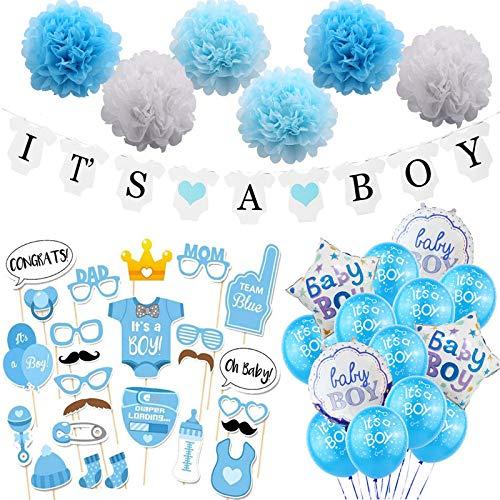 JOTOM Babyparty Deko Jungen Its A Boy Party Deko Geburtstag Baby Dusche Dekoration Hauptdekorationen Junge Baby Parteien Deko Set Girlande Luftballons Ballons (Junge)