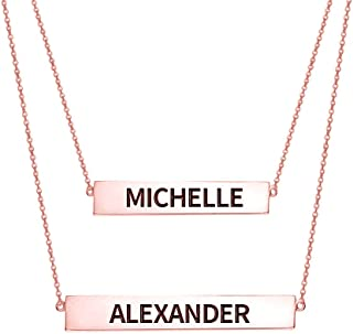 Ouslier 925 Sterling Silver Personalized Layered Nameplate Double Bar Necklace Custom Made with 2 Names