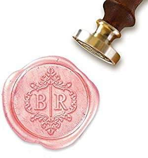 """Custom Wax Seal Stamp Kit with Sealing Wax-1"""" Die with 2 Letter Scroll Monogram"""