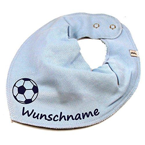 Elefantasie Halstuch Fußball mit Namen oder Text personalisiert hellblau für Baby oder Kind