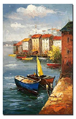 60x90cm - 100% dipinto a mano pittura a olio - Mediterraneo città pittura ad olio paesaggio dipinto su tela mare barca decorazioni per soggiorno (DL3342, 60_x_90_cm)