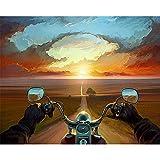 LWQHJJJ Adultos Y Niños Pintura Digital Diy Principiante Pintura Al Óleo Set De Regalo Preimpreso Lienzo Artista Decoración Del Hogar-Puesta De Sol Motocicleta 16 * 20 Pulgadas (Sin Marco)
