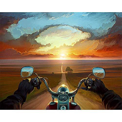 MAGICXYZ Malen Nach Zahlen DIY Vorgedruckt Leinwand-Ölgemälde Sonnenuntergang, der Motorrad fährt 40x50cm Geschenk für Erwachsene Kinder Malen Nach Zahlen Kits Home Haus Dekor(Ohne Rahmen)