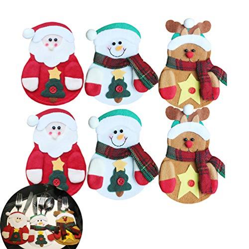 Romancemit Tasca per Posate di Natale,Tasca da Tavola di Babbo Natale Pupazzo di Neve Tasca per Forchetta Cucchiaio Decorazione Natalizia Decorazione della Cena di Natale 6 Pezzi