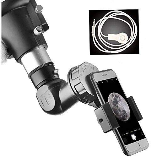 Universal Cell Phone Adapter Mount and Wire Shutter– Compatible with Binocular Monocular Spotting Scope Telescope -for iPhone Sony Samsung Etc