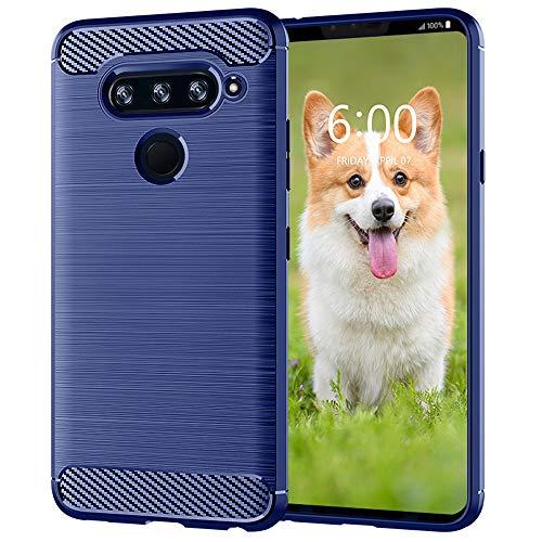 KEEPCA LG V40 ThinQ Handy-Schutzhülle, LG V40, dünn, flexibel, TPU, Gummi, Gel, weiche Haut, Silikon, Karbonfaser, kratzfest, stoßdämpfend, Schutzhülle für LG V40 ThinQ, Blau gebürstet
