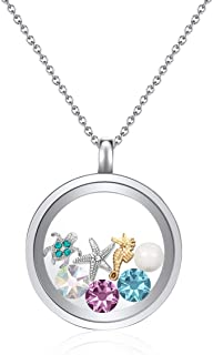 Mestige Women's Silver Under the Sea Floating Charm Necklace - MSMO3031