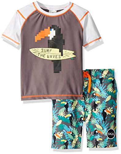 Skechers Boys' Little Suit Set with Rashgaurd Swim Shirt, Gray, 5