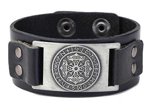 Skyrim Lederarmband Triquetra keltischer Knoten Thorshammer Wikinger 24 Runen Talisman, Metall Leder, Antik-Silber, Schwarz, Einstellbar