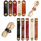 Gydandir Leather Cable Straps Cable Ties Cable Organizers Cord Management for Organizing USB Cable Headphone Wires (Black, Brown, Light Brown, Wine Red and Gold, 10 Pieces)