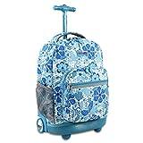 J World New York Sunrise Rolling Backpack, Blue Vine, 18'