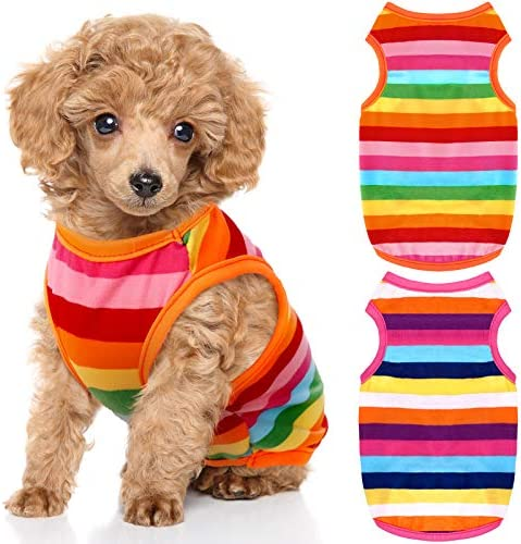 2 Pieces Dog Rainbow Stripe Shirts Pet Clothes Soft Puppy Summer T Shirts Comfortable Dog Striped product image