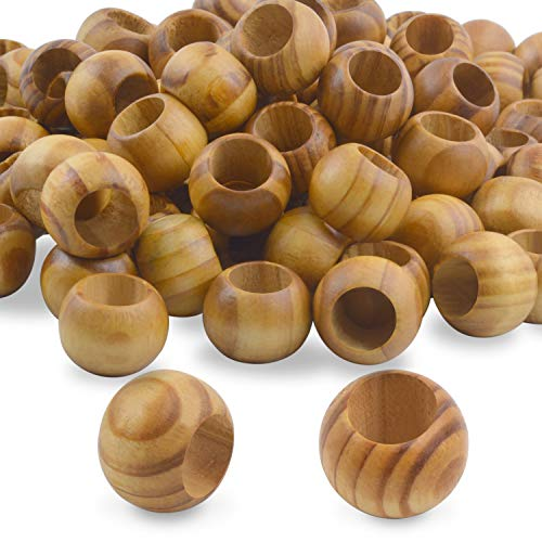 Natural Wooden Beads, 100 Pieces 20mm Diameter Round Loose Spacer Beads Large...