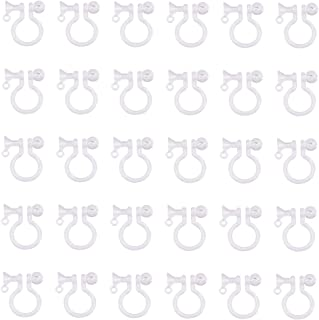 PandaHall Elite 30 Pcs Clear Plastic Clip-on Earring Converter Component Fit 5mm Rhinestone 11x10x3.5mm for Non-Pierced Ears