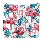 N / A Poliéster Flamingo Tapiz Arte de la Pared Tapiz Tropical Decoración para el hogar Puerta Cortina Sala de Estar Colcha Sábana Fondo de Tela Tapiz Decorativo de Tela A4 150x200cm