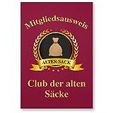 DankeDir! Clubausweis Club der Alten Säcke, Kunststoff Schild - Geschenk runder Geburtstag, Geschenkidee Geburtstagsgeschenk Männer, Geburtstagsdeko/Partydeko/Party Zubehör/Geburtstagskarte