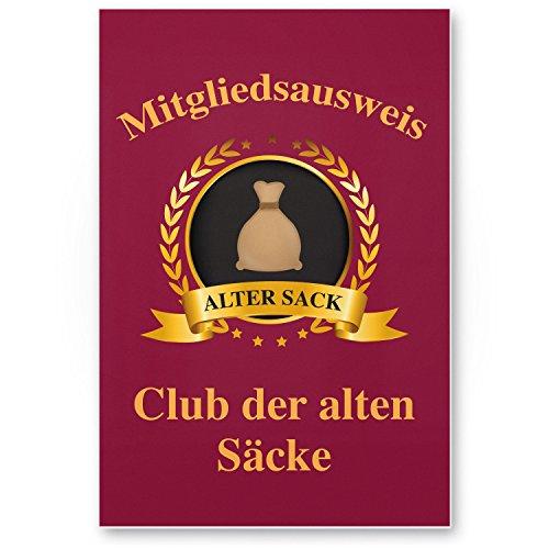 DankeDir! Clubausweis Club der Alten Säcke Kunststoff Schild - Geschenk runder Geburtstag Geschenkidee Geburtstagsgeschenk Männer Geburtstagsdeko Partydeko Party Zubehör Geburtstagskarte