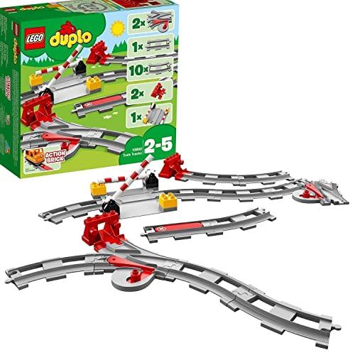 LEGO 10882 DUPLO Town Vías ferroviarias, Juguete de Construcción para Niños de +2 años, Accesorio para Trenes