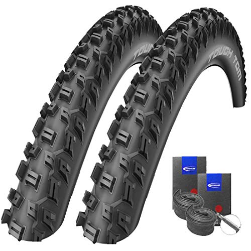 Set: 2 x Schwalbe Tough Tom MTB-Reifen Stollenprofil 29x2.25/57-622 + Schwalbe SCHLÄUCHE Rennradventil