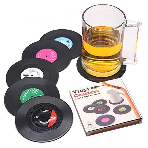Set di 6 black Retro Vinyl Record sottobicchieri, sotto bicchieri da tavola ,sottobicchieri vinile - 4.1'