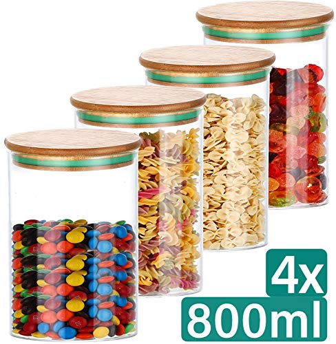 Glas Vorratsdosen Set mit Deckel 4er - Luftdicht - 800ml - Spülmaschinenfest - 8 Dichtungen