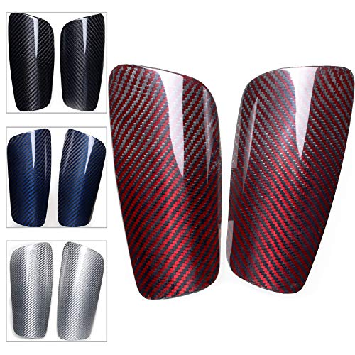 VARWANEO Carbon Fiber Soccer Shin Guards,with Large Cushioned,for Kid,Youth,Adult,Men,Slim,Superlight,Genuine Carbon,Baseball,Football,Kickboxing,Thai,MMA,Protection Shocks Injuries (Glossy Red, M)
