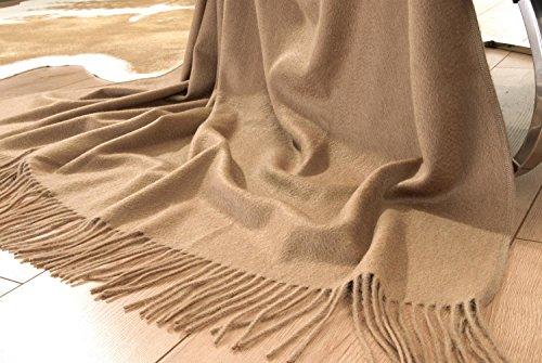 Véritable plaid en poils de chameau avec finition brillante à l'eau, couverture élégante en laine Sultan