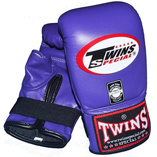 TWINS 本革製パンチンググローブ パープル PGTW3100 / トップファイター トレーニング映像 DVD付き (L)