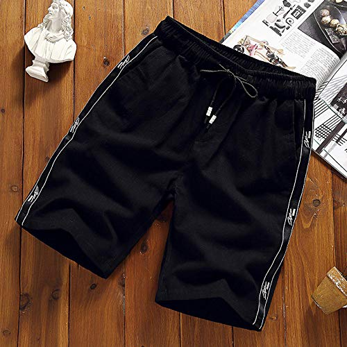 Sports Running Shorts For Men Mens Casual Shorts Cotton Black Shorts For Men Gym Sport Shorts Drawstring Shorts Male-Black_3Xl