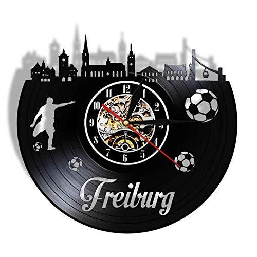 Wangzhongjie Freiburg City Skyline Wall Clock German Football Fans Watch Made Of Real Vinyl Record Led Lighting Night Lamp Room Deco
