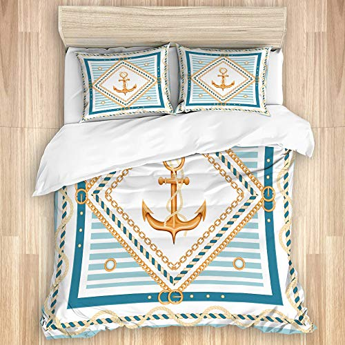 Aliciga Decorative Duvet Cover Set,Abstract geometric golden chains rope belts anchor and marine stripes Marine background,Microfibre 230x220 with 2 Pillowcase 50x80,King
