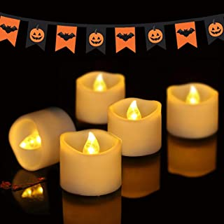 Beichi Battery Tea Lights Bulk, Set of 24 Flameless LED Tea Lights Candles Battery Operated, Electric Tea Lights Flickering, Amber Yellow Mini LED Candles with Melted Edge Design, 1.4'' D x 1.25'' H