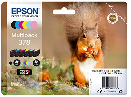 Epson Original 378 Tinte Eichhörnchen (XP-8500 XP-8600 XP-8605, Amazon Dash Replenishment-fähig, Multipack, 6-farbig)