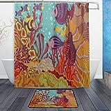 JoneAJ Ocean Underwater World 71x71 Pulgadas Cortina de baño y tapete Color Coral Marino Bio Tela Impermeable Cortina de baño y Alfombra enganchada con Alfombra de baño de 40x60cm
