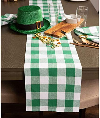 qwert st Patrick s Day Green Buffalo Check Plaid Table Runner 13 x 72 Cotton Polyester Gingham product image