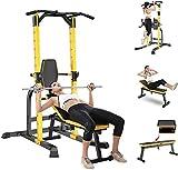 Byakns Equipo de aptitud física de la pierna doméstica o conjunto de presiones de presa interior, conjunto de banco de pesas con press de banco plegables, bastidor de barra para entrenamiento de cuerp